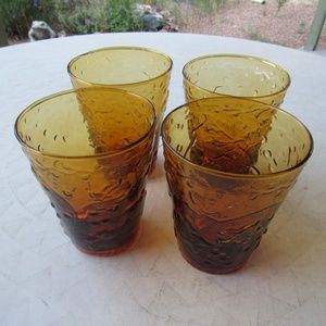 Vintage Kitchen - Vintage Amber Textured Glass Tumblers Set of 4